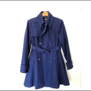Bebe Blue Winter Trench Coat
